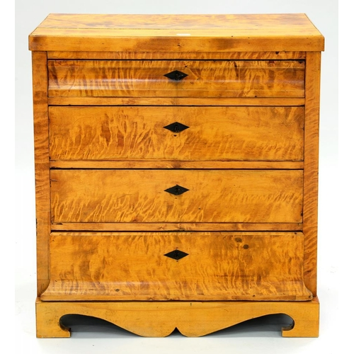 157 - <p>A NORTHERN EUROPEAN MAPLE CHEST OF DRAWERS, POSSIBLY SWEDISH, 82CM L, 19TH C</p>...