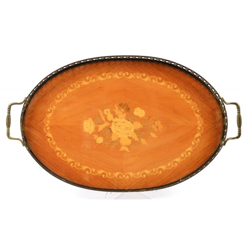 158 - <p>AN OVAL ITALIAN SORENTO TYPE MARQUETRY AND BRASS TRAY WITH PIERCED GALLERY, 53CM OVER HANDLES, MI...