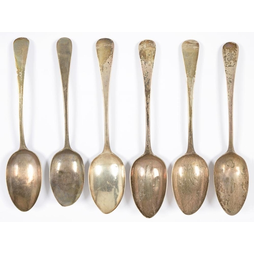 162 - <p>SIX SILVER TABLESPOONS, GEORGE III AND LATER, 11OZS 2DWTS (6)</p><p></p>...