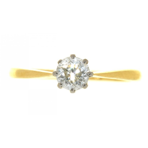 17 - <p>A DIAMOND SOLITAIRE RING, APPROX 0.5 CT, IN GOLD MARKED 18CT AND PLAT, 2.9G, SIZE O</p><p></p>...