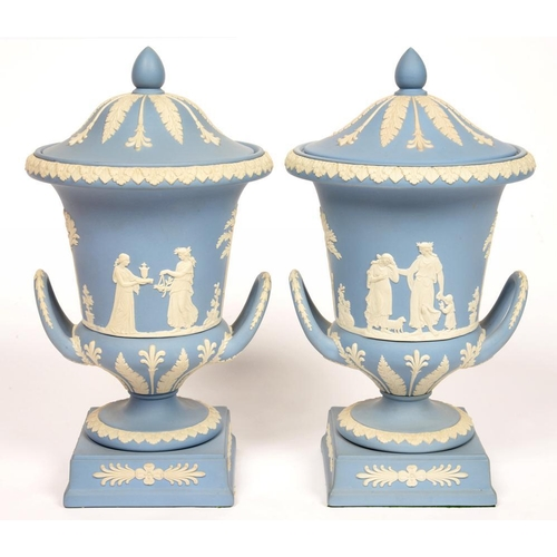 170 - <p>A PAIR OF WEDGWOOD JASPER WARE CAMPANA VASES AND COVERS, 30CM H, IMPRESSED MARKS, SECOND HALF 20T...
