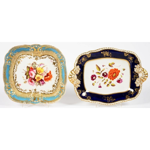 173 - <p>A COALPORT MOULDED CUSHION SHAPED DESSERT DISH PAINTED WITH FLOWERS IN TURQUISE BORDER AND A CONT...