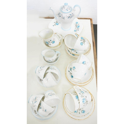 204 - <p>A ROYAL GRAFTON BONE CHINA COFFEE SERVICE, DECORATED WITH BLUE ROSES AND A ROYAL STANDARD BONE CH...
