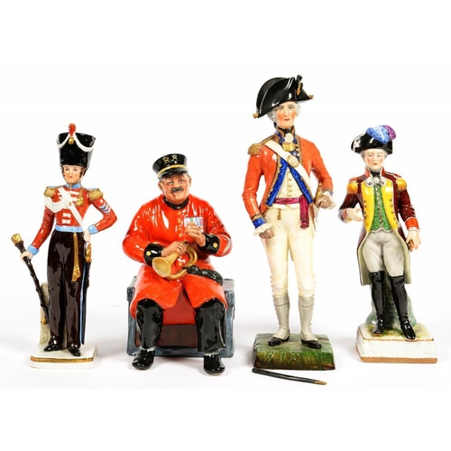 218 - <p>A ROYAL DOULTON EARTHENWARE FIGURE OF PAST GLORY, 20CM H AND ONE AND A PAIR OF CONTINENTAL FIGURE...