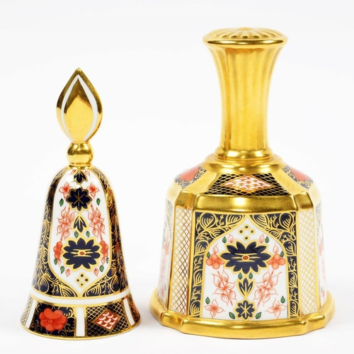 230 - <p>TWO ROYAL CROWN DERBY IMARI PATTERN BELLS, 12 AND 13CM H, PRINTED MARKS </p>...
