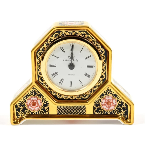 232 - <p>A ROYAL CROWN DERBY YORKSHIRE ROSE PATTERN MILLENNIUM CLOCK, 10CM H, PRINTED MARKS AND 133/500</p...