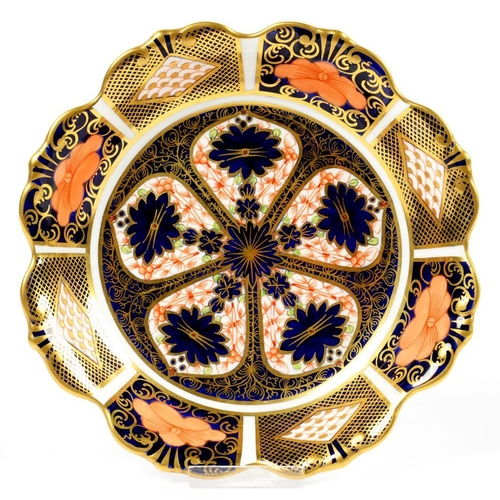 239 - <p>A ROYAL CROWN DERBY IMARI PATTERN DISH WITH FLUTED RIM, 17CM D, PRINTED MARK</p>...