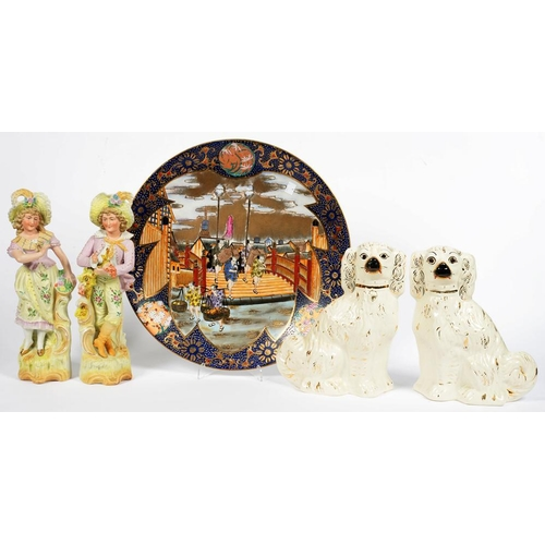 244 - <p>A PAIR OF STAFFORDSHIRE EARTHENWARE SPANIELS, 29CM H, 19TH C, A PAIR OF LATE 19TH C GERMAN PASTEL...