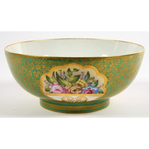 246 - <p>A SAMSON GREEN GROUND PUNCH BOWL PAINTED WITH PANELS OF FLOWERS, 29CM D, SPURIOUS RED ENAMEL DERB...