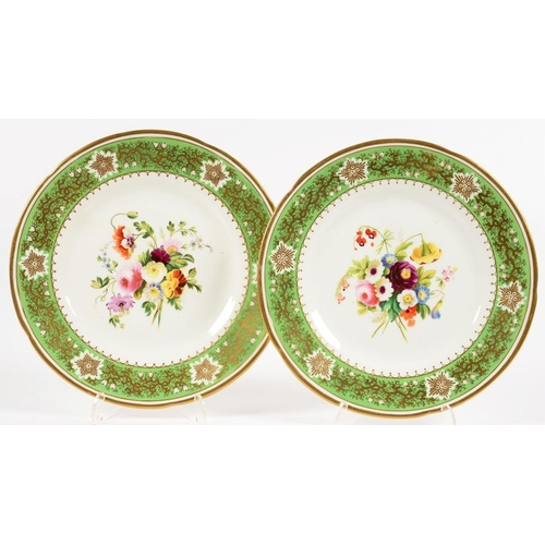 247 - <p>A PAIR OF STAFFORDSHIRE PORCELAIN DESSERT PLATES, PAINTED WITH A LOOSE BOUQUET IN APPLE GREEN AND...