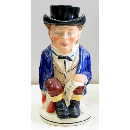 249 - <p>A STAFFORDSHIRE EARTHENWARE 'BUDGET' TOBY JUG AND COVER, 28CM H, PAINTED 241074, EARLY 20TH C</p>...