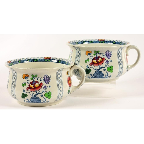 250 - <p>A PAIR OF KEELING & CO LOSOL WARE LYNN PATTERN CHAMBER POTS, PRINTED MARK, EARLY 20TH C</p>...