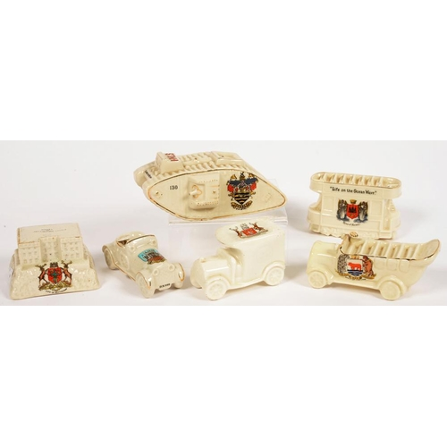 261 - <p>SIX WILLOW ART, ARCADIAN AND OTHER CRESTED CHINA MODELS, COMPRISING WORLD WAR ONE TANK, TRAM, CHA...