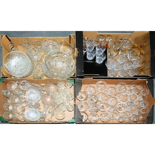269 - <p>A SET OF SIX WATERFORD CUT GLASS WINES, BOXED, MISCELLANEOUS CUT GLASS, PRESSED GLASS, ETC</p>...