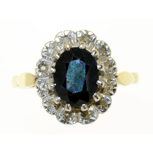 27 - <p>A SAPPHIRE RING, IN 9CT GOLD, 4.9G, SIZE S</p><p></p>...