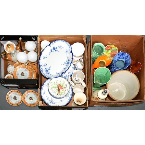 270 - <p>A RIDGWAYS ROYAL SEMI-PORCELAIN CHISWICK PATTERN DINNER SERVICE, A JAPANESE LUSTRE TEA SERVICE, V...