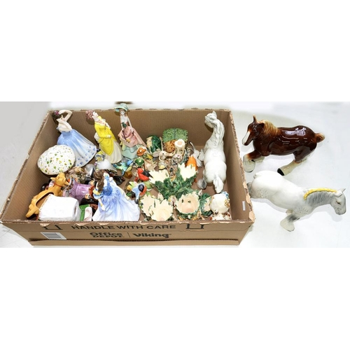 284 - <p>THREE BESWICK HORSES AND STAFFORDSHIRE BIRDS, STUDIO POTTERY FIGURES, ETC</p>...