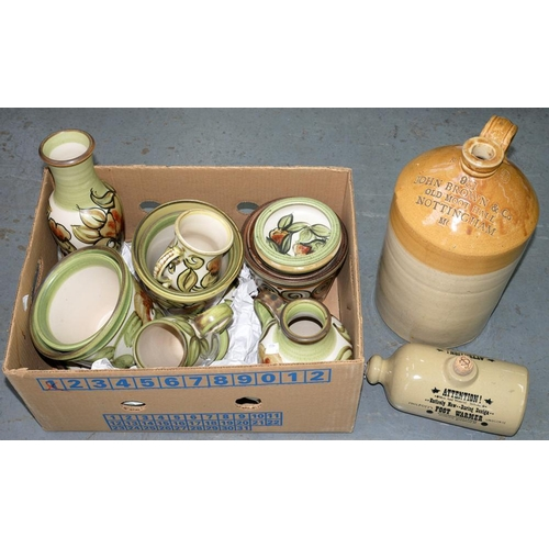 285 - <p>A DENBY SHALLOW BOWL, APPROXIMATELY 34CM D, A LANGLEY JUG, LANGELY TANKARDS, JARDINIERE'S, ETC, W...