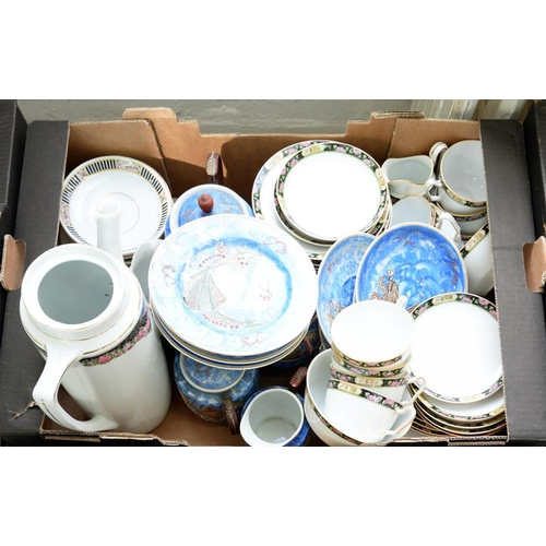 288 - <p>A JAPANESE BLUE GROUND DRAGON TEA SERVICE, A NORITAKE BLACK AND FLORAL BORDERED TEA SERVICE AND A...