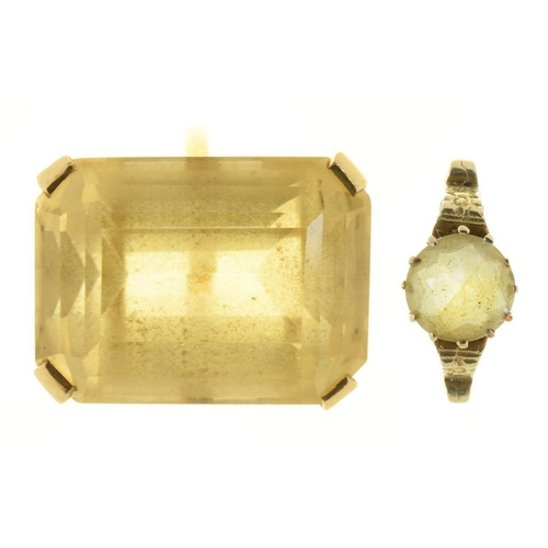 29 - <p>A STEP CUT CITRINE RING, APPROX 38 CTS, IN GOLD MARKED 9CT, 13.5G, SIZE Q AND ANOTHER CITRINE RIN...