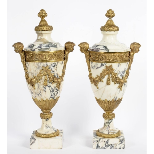 290 - <p>A PAIR OF GILTMETAL MOUNTED MARBLE URNS IN LOUIS XVI STYLE, 52CM H, 20TH C</p>...