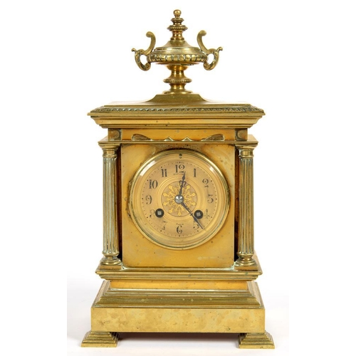 291 - <p>A FRENCH ARCHITECTURAL STYLE BRASS MANTEL CLOCK, THE PILLARD CASE WITH URN FINIAL, THE MOVEMENT S...