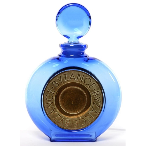 292 - <p>ADVERTISING.  A ROCHAS 'BYZANCE' PERFUME BLUE GLASS FACTICE OR DISPLAY BOTTLE AND STOPPER, 37CM H...