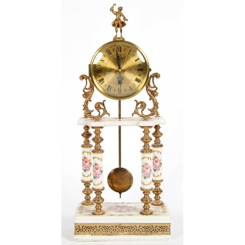 298 - <p>A DECORATIVE CONTINENTAL GILTMETAL MOUNTED EARTHENWARE AND ENAMEL PORTICO TIMEPIECE IN FRENCH STY...