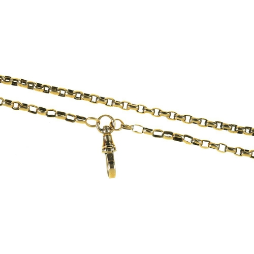 3 - <p>A GOLD BELCHER CHAIN, APPROX 180 CM,  MARKED 9C, 36G</p><p></p>...
