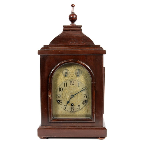 302 - <p>A GERMAN MAHOGANY STAINED WOOD MANTEL CLOCK, WITH SILVERED DIAL WITH TWIN SUBSIDIARY DIALS TO THE...