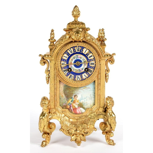 303 - <p>A FRENCH FIN DE SIECLE SPELTER GILT MANTEL CLOCK WITH SEVRES STYLE PORCELAIN DIAL AND PLAQUE PAIN...