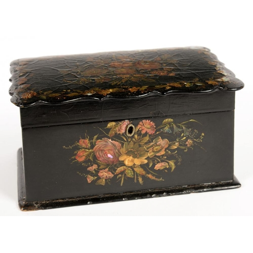 305 - <p>A VICTORIAN PAPIER MACHE TEA CADDY, INLAID IN MOTHER OF PEARL AND PAINTED WITH FLOWERS, THE DIVID...