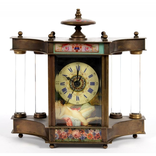 311 - <p>A REPRODUCTION BRASS MANTEL TIMEPIECE, THE POLYCHROME DIAL DECORATED WITH MISS MURPHY AFTER BOUCH...