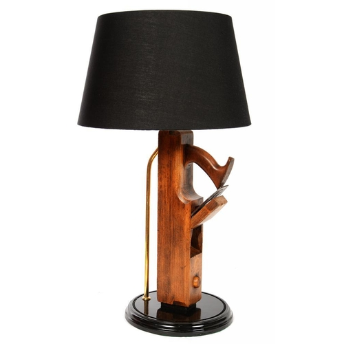 326 - <p>A TABLE LAMP INCORPORATING A 19TH C JOINER'S  PLANE, WITH BLACK LAMPSHADE, 62CM H OVERALL</p>...