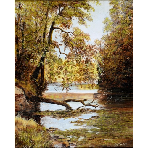 466 - <p>BARRY RENSHAW, ABOVE THE WEIR LATHKILL DALE, SIGNED, SIGNED AGAIN, DATED 1982 AND INSCRIBED ON TH...