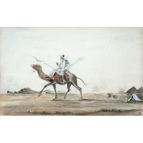 481 - <p>JOHN SILVESTER BLUNT, A CAMEL RIDER, SIGNED, WATERCOLOUR, 15.5 X 24CM</p>...