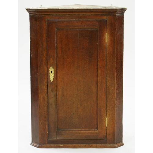 491 - <p>A GEORGE III OAK CORNER CUPBOARD WITH PANELLED DOOR, 96CM X 69CM, A GEORGE III OAK GATELEG TABLE,...