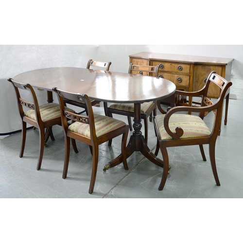 497 - <p>A GEORGE III STYLE TWIN PILLAR MAHOGANY DINING TABLE, A SIDEBOARD AND SET OF FIVE DINING CHAIRS, ...