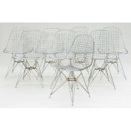504 - <p>CHARLES & RAY EAMES, A SET OF EIGHT DKR WIRE CHAIRS, 81CM H, C1970</p>...