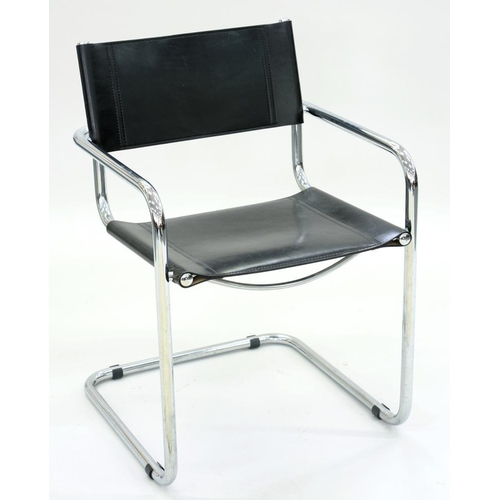 538 - <p>A CHROMIUM PLATED TUBULAR METAL AND BLACK LEATHER ELBOW CHAIR</p>...
