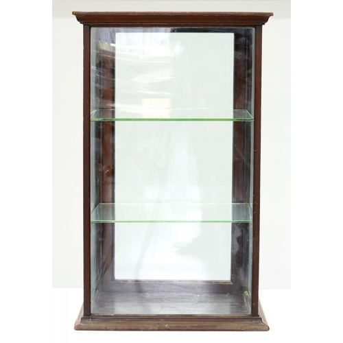 541 - <p>AN EDWARDIAN SHOPKEEPER'S STAINED WOOD AND GLAZED COUNTER TOP DISPLAY CABINET WITH GLAZED REAR DO...