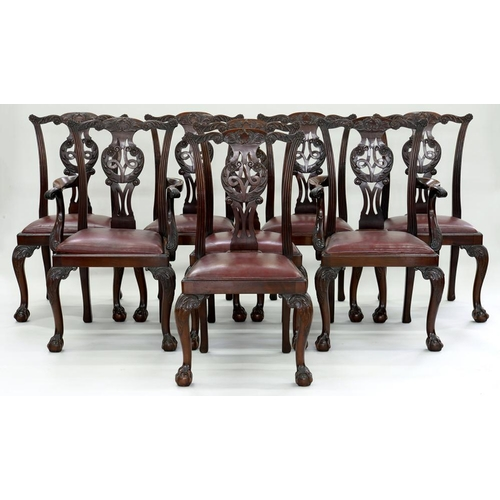 547 - <p>A SET OF EIGHT GEORGE II STYLE CARVED MAHOGANY DINING CHAIRS, EARLY 20TH C, ON CABRIOLE LEGS AND ...