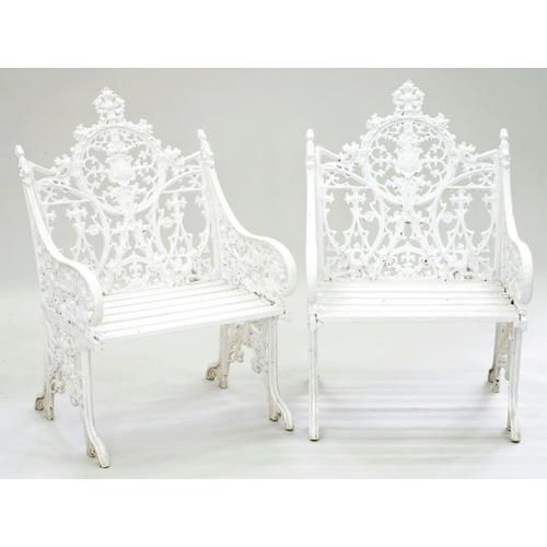 553 - <p>A PAIR OF GOTHIC REVIVAL CAST METAL GARDEN CHAIRS, AFTER A VICTORIAN MODEL, WITH WOOD SLATTED FEE...