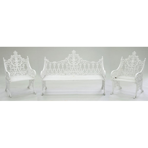 554 - <p>A GOTHIC REVIVAL CAST METAL GARDEN SEAT AND PAIR OF CHAIRS AFTER A VICTORIAN MODEL, WOOD SLATTED ...