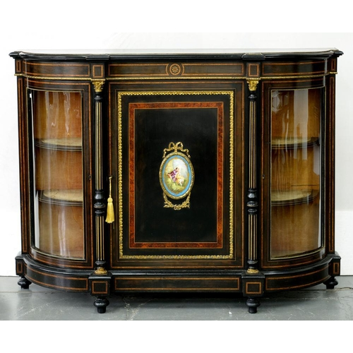 555 - <p>A VICTORIAN GILTMETAL MOUNTED AND EBONISED SIDE CABINET, CROSSBANDED IN AMBOYNA, THE CENTRAL DOOR...