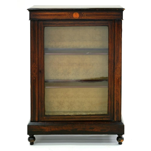560 - <p>A VICTORIAN ROSEWOOD AND INLAID PIER CABINET WITH GLAZED DOOR, 77CM W, C1870</p>...