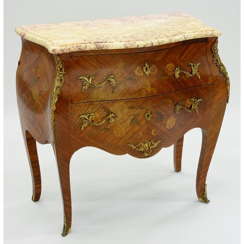 563 - <p>A FRENCH ORMOLU MOUNTED KINGWOOD, TULIPWOOD AND MARQUETRY PETIT COMMODE IN LOUIS XV STYLE, WITH B...