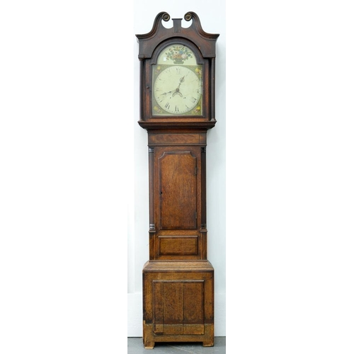 564 - <p>A VICTORIAN 30 HOUR OAK AND CROSSBANDED LONGCASE CLOCK, THE BREAKARCHED AND PAINTED DIAL WITH FRU...