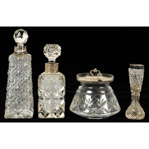 122 - <p>TWO SILVER COLLARED GLASS SCENT BOTTLES, 16.5 AND 13.5 CM H, A SILVER MOUNTED GLASS VASE, 10 CM H...