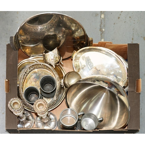 128A - <p>MISCELLANEOUS PLATED WARE, TO INCLUDE CANDLESTICKS, HOLLOWARE, ETC</p>...